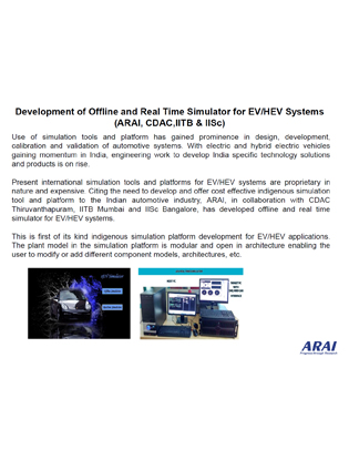 Development of Offline and Real Time Simulator for EV/HEV Systems (ARAI, CDAC,IITB & IISc)